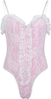 inhzoy Men's Sissy Lace Trim One Piece Teddy Leotard Crossdress Nightwear Pajamas Bodysuit