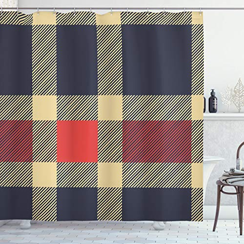 "Ambesonne Checkered Shower Curtain, Vintage Plaid Scottish Tartan Pattern with Retro Display Checks Lines, Cloth Fabric Bathroom Decor Set with Hooks, 70"" Long, Blue Cream"