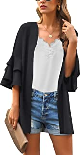 ACKKIA Womens Casual Cardigan Capes Floral Print Chiffon Loose Kimono Blouse Top