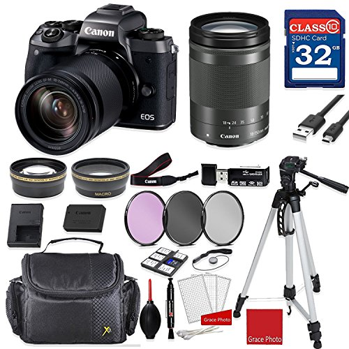 Canon EOS M5 Digital Camera (Black) with Canon EF-M 18-150mm f/3.5-6.3 is STM Lens (Graphite) + Professional Accessory Bundle