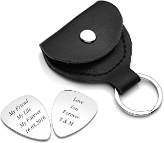 Jovivi Personalzied Custom Message Engraved Genuine Leather Guitar Pick Holder Case Keychain with 2 Guitar Picks for Him Boyfriend Fathers Day Valentines Gifts