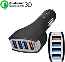 TJC Car Charger Quick Charge 3.0, 4 Ports USB Qualcomm QC 3.0 Fast Charging Adapter Multi Protection Technology Compatible with Android Smartphones Samsung S9/S8 Plus,Sony,iPhone X/8, iPad (Black)