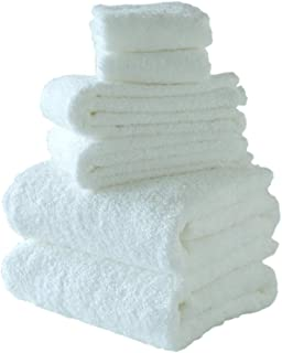 ORUNET Japanese IMABARI Towel, Hotel & Spa Quality Towels Bathroom Sets Luxury Super Absorbent 100% Cotton (White, Towel Set 6-Piece)