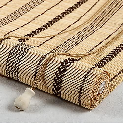LLXNQ026 Persianas Enrollables de Bambú Natural,Estores de Bambú Decorativa Retro,Persiana Toldo Vertical Cortinas Opacas Estores Enrollables Al Aire Libre Y Exterior (90x100cm/36x39in)