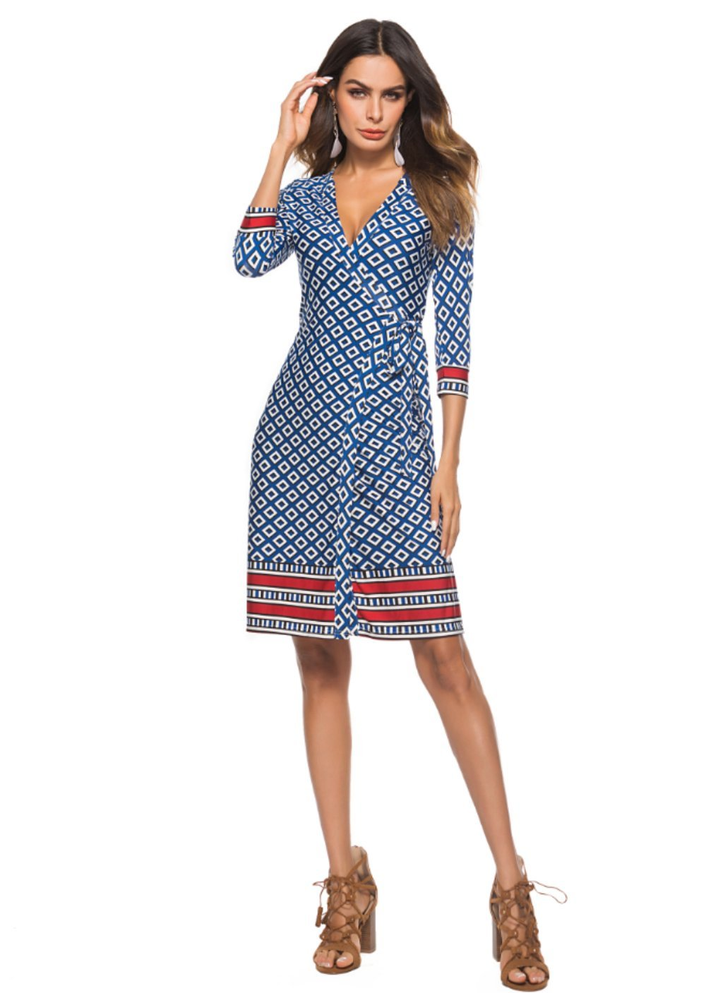 Available at Amazon: MAGICMK Women's Bohemian Deep V Neck Floral Chiffon Wrap Split Maxi Long Dress