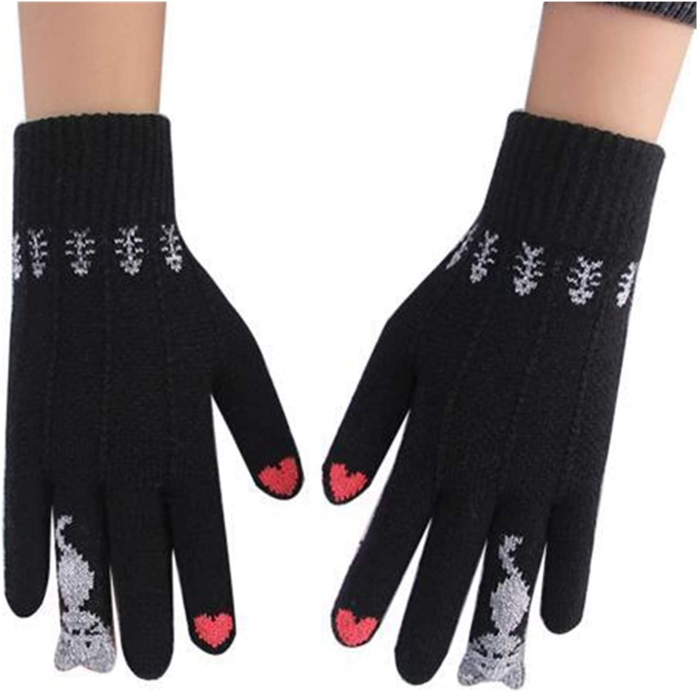 GUYANMAY Lace Gloves Female Male Warm Winter Knitted Gloves Full Finger Mittens Cute Cartoon Cats Touched Screen Unisex Gloves (Color : Black)