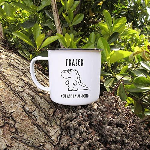 Personalised Metal Dinosaur Enamel Mug with Custom Name, You are Rawr-Some, White 380 ml Laser Engraved Tin Tea Cup, T-Rex Mug