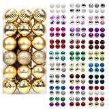walsport Christmas Balls Ornaments for Xmas Tree, 36ct Plastic Shatterproof Baubles Colored and Glitter Christmas Party Decoration 1.6inch Set (Gold)