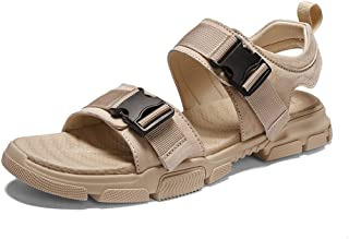 Shangruiqi Sandals for Men Summer Beach Shoes Buckle PU Leather Breathable Outdoor Casual Walking Anti-Slip Flat Round Open Toe Vegan Anti-Skid (Color : Sand, Size : 6 UK)