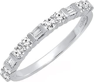 0.40 Carat (ctw) 14K Gold Round & Baguette White Diamond Ladies Wedding Stackable Band
