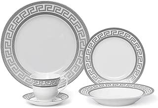Joseph Seigh GP1347-20P, 20 PCs Fine Porcelain Dinnerware Set, Tableware Set with Antique Greek Pattern, Set of 20