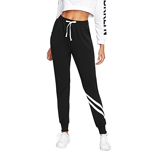 SweatyRocks Women Pants Color Block Casual Tie Waist Yoga Jogger Pants ec3dc79f9c