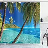 ABAKUHAUS Duschvorhang, Bild Einer Tropischen Insel Palmen & Dem Klaren Seestrand Ferien Thematisiertes Foto Druck, Blickdicht aus Stoff mit 12 Ringen Waschbar Langhaltig Hochwertig, 175 X 200 cm