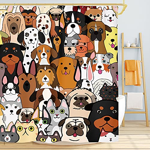 SVBright Doodle Duschvorhang mit Hunde- und Katzengesichtern, lustig, Cartoon-Motiv, 152 x 183 cm, bunt, lustige Tiere, 12 Haken, Polyester, wasserdicht, für Badezimmer