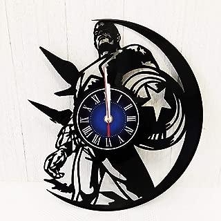 MARVEL COMICS CAPTAIN AMERICA GIFT Wall Clock made from 12 inches / 30 cm Vintage VINYL RECORD   Cap America First Avenger GIFT FOR MEN BOYS HUSBAND   MARVEL INFINITY WAR   CAPTAIN AMERICA MERCHANDISE