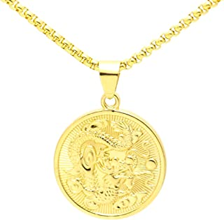 Hip Hop 18K Alloy Dragon Round Tag Pendant Necklace with Chain