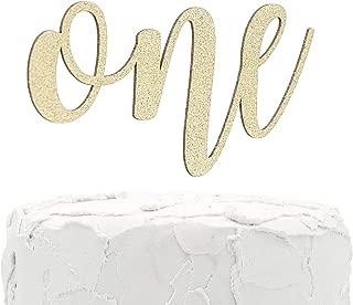 NANASUKO 1st Birthday Cake Topper - one - Double Sided Gold Glitter - Premium Quality Made in USA