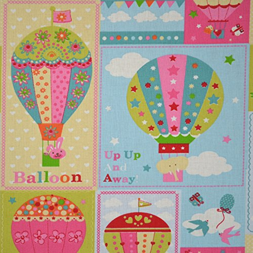 Tela 'Paseo en globo' - rosa, rojo, naranja, verde y azul - 100% algodón suave | ancho: 160 cm (1 metro)
