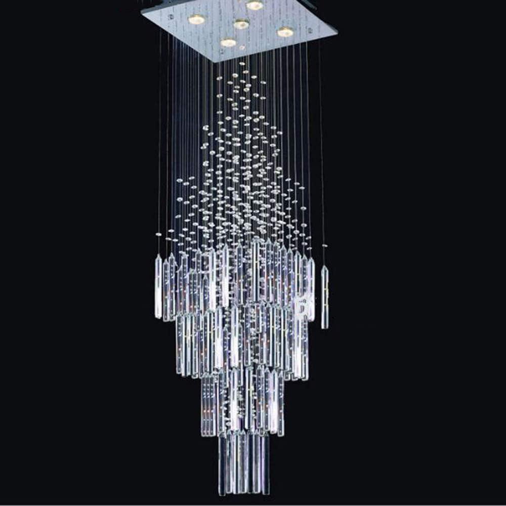 Xajgw lampadario Moderno K9 Crystal Spiral Goccia di pioggia