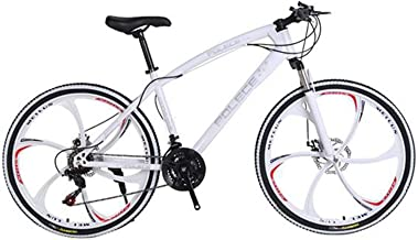 Mountain Bike Mens and Womens,Professional 21 Speed Gears 26in Bicycle,Double disc Brake(White)