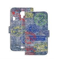 [FFANY] らくらくスマートフォン3 F-06F 用 PU手帳型 ミラータイプ スマホケース [デニム風・カラースタンプ] トラベル Visa パスポート ビンテージ FUJITSU 富士通 アンドロイド docomo スタンド スマホカバー 携帯カバー denim 00n_100@01m