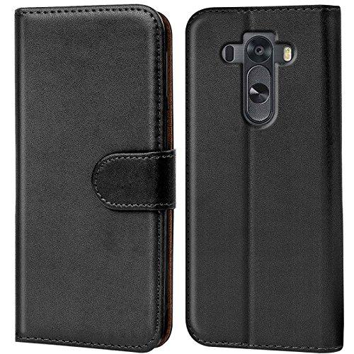 Verco G3S Hülle, Handyhülle für LG G3 S Tasche PU Leder Flip Hülle Brieftasche - Schwarz