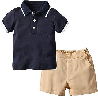 a2f96d777 BOBORA Conjuntos Bebé Niños, Polo de Manga Corta con Pantalones Cortos de  Cintura Elástica Ropa