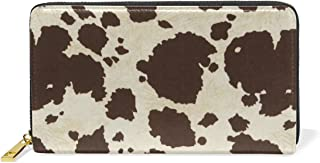 MaMacool Women's Genuine Leather Girl Zipper Wallets Big Cow Fur Print Pattern Clutch Coin Phone