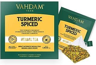 VAHDAM, Turmeric Spiced Herbal Tea (90 Tea Bags)   2018 SOFI AWARD WINNER   INDIA'S WONDER SPICE   Blend of Turmeric Powde...