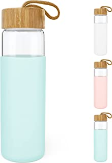 Zumaflo 22 oz Glass Water Bottle with Bamboo Lid and Semi-Transparent Silicone Protective Sleeve – Reusable, Leakproof, BP...
