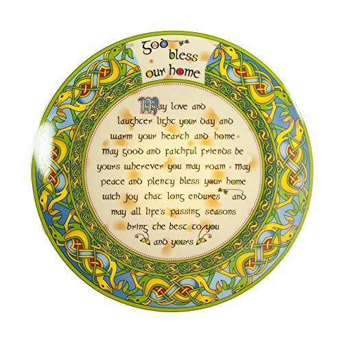 "Irish Decorative Plate God Bless Our Home 8"" with Easel and Hook for Hanging"