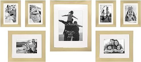 مجموعة إطارات صور من 7 قطع ذهبية مزخرفة من ستونيبرير، عرض معلق على الحائط، مجموعة جدارية عصرية