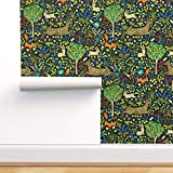 Spoonflower Peel and Stick Removable Wallpaper, Woodland Animals Forest Nursery Decor Land Deer Fox Flowers Rabbit Print, Self-Adhesive Wallpaper 12in x 24in Test Swatch