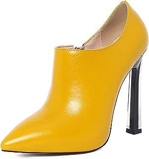Dames Hoge Hakken, sexy Dames Hoge schoenen voor de lente, 12 cm / 4.72 inch Puntige dikke hak enkele schoenen, runderpees...