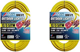 US Wire 12/3 SJTW 100-Foot Outdoor Lighted Extension Cord (Yellow, 2-Pack)