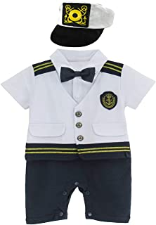 Baby Boys' Halloween Captain Costume Romper Outfit Set