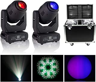 V-Show 250W 3 In 1 Moving Head Dj Light DMX Stage Light Moving Head,Beam Spot Wash LED Light Effect for DJ Party Disco KTV Nightclub Lives (2 Pack with Flight Case)