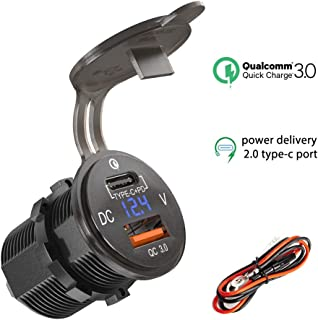 Type C USB Charger Socket PD 18W and QC 3.0 12V/24V Car Power Outlet Waterproof Cigarette Lighter Adapter Power Delivery 2.0 Quick Charge 3.0 36W with LED Voltmeter for Marine Boat Motorcycle RV ATV