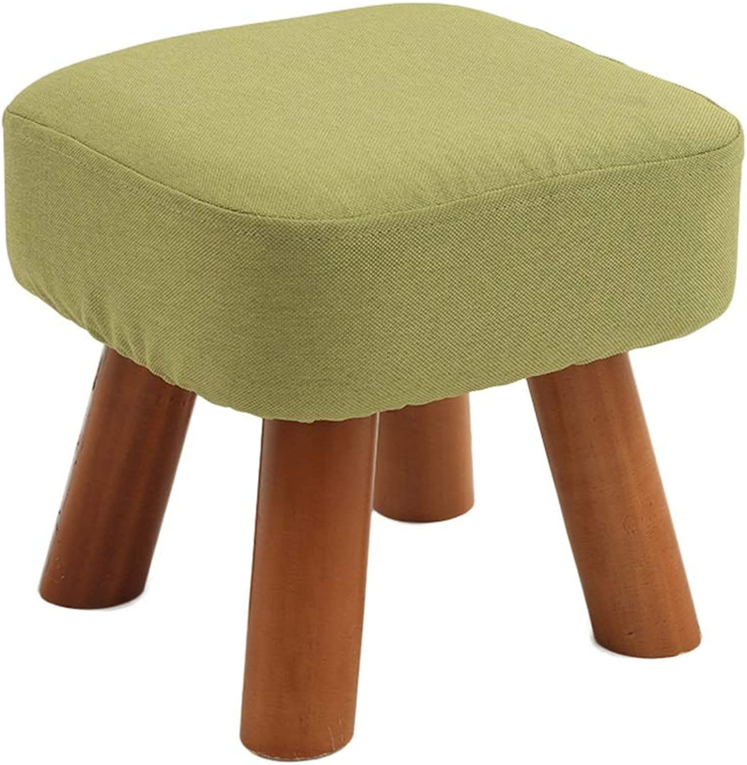 Solid Wood Small Stool - Change shoes Bench - Coffee Table Sofa Stool - Fabric Small Bench - Home Stool - Load Capacity 100kg (color   28×28×25cm Green)