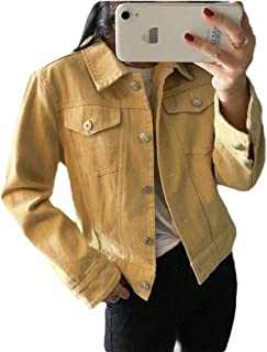 Macondoo Women's Outdoor Button Down Jean Lapel Coat Denim Jacket