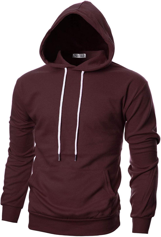 Ohoo Mens Slim Fit Long Sleeve Lightweight Pullover Hoodie With Kanga Pocket