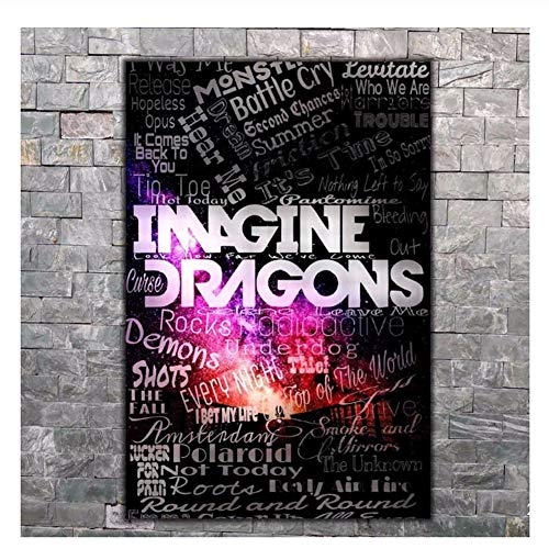 Suuyar Poster Wall Canvas Imagine Dragons Album Music Print Modern Decoration Gift Print on Canvas -60x80cm No Frame