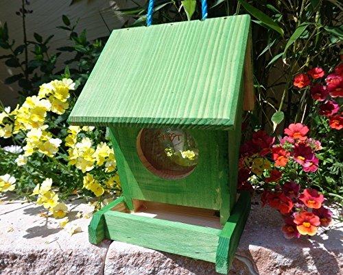 Vogelfutterstation-BTV-X-VOFU1K-gras001 XXL PREMIUM Vogelhaus Futterstation grasgrün Marien Käfer grün PURE GREEN Garten grüner Nistkasten Insekten, als Ergänzung zum Meisen Nistkasten Meisenkasten oder zum Insektenhotel, Vogelfutterhaus Futterstationen für Vögel, Vogelhäuschen / Vogelvilla zum Hängen und Aufstellen von BTV
