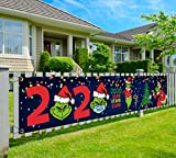 Grinch Christmas Decoration-2020 Stink Stank Stunk Christmas Yard Sign,Merry Christmas Banner 2020,9.8x2Ft Large Xmas Quarantine Yard Sign for Christmas