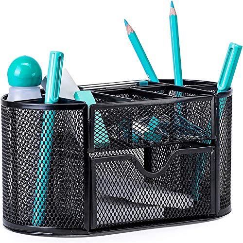PAREIKO Organiseur de bureau, pot à crayons multifonction en maille métallique avec tiroir de rangement, noir