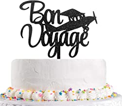 Black Glitter Bon Voyage Cake Topper,Going Away, Moving Away, Travel,Retirement,Farewell Party Decoration Supplies(Acrylic)