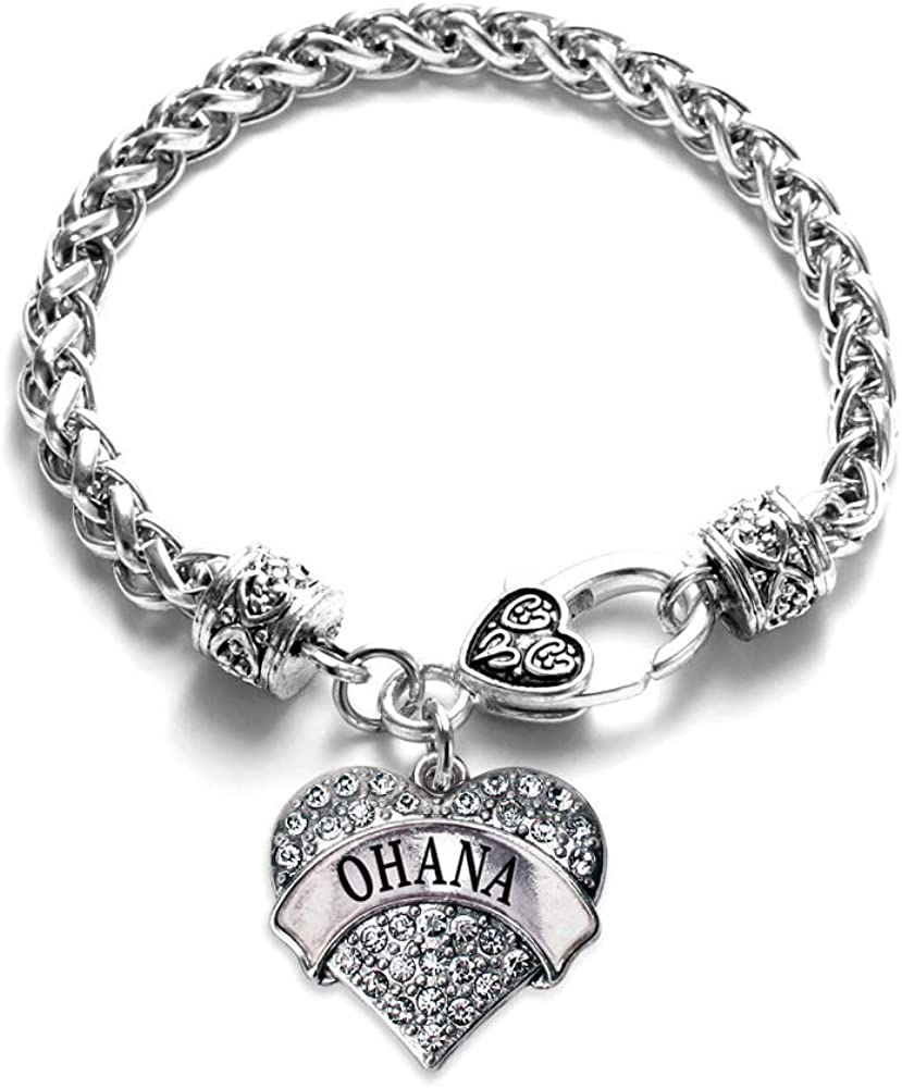 Inspired Silver - Silver Pave Heart Charm Bracelet with Cubic Zi