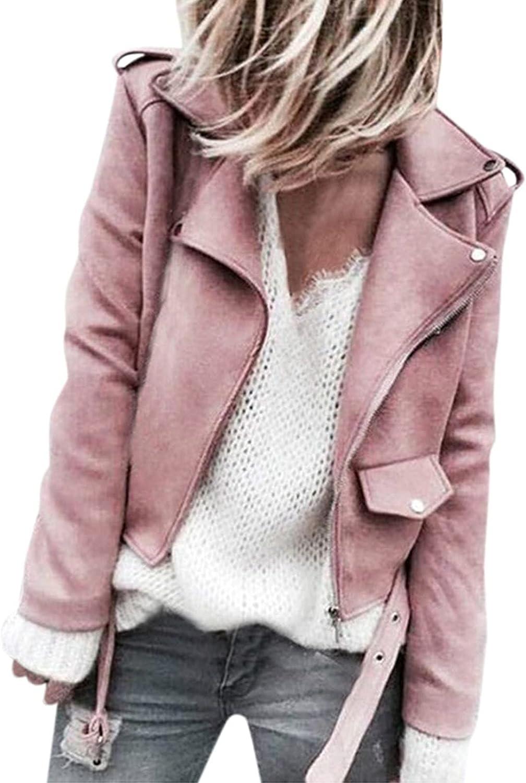 SNKSDGM Women's Suede Motorcycle Cropped Moto Jacket Loose Lapel Long Sleeve Coat Zipper Outwear with Pockets