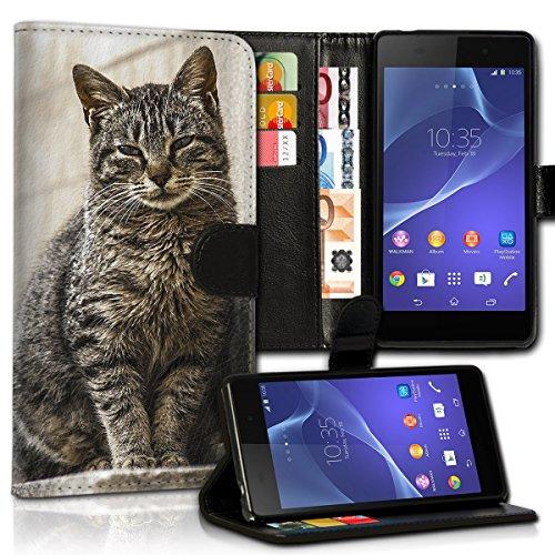wicostar Book Style Wiko Lenny 3 Premium PU-Leder Tasche Flip Brieftasche Handy Hülle Kartenfächer mit Standfunktion für Wiko Lenny 3 - Design Flip MVC40
