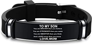 to My Son & Daughter Love Mom Bracelet, Mom and Son Bracelet, Personalized Engraved Bracelet Birthday Gift for Son and Dau...
